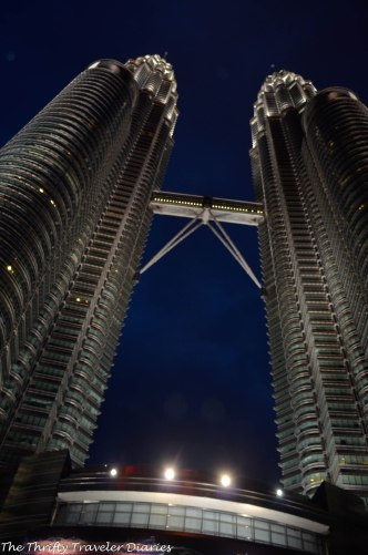 A view of the towers at night