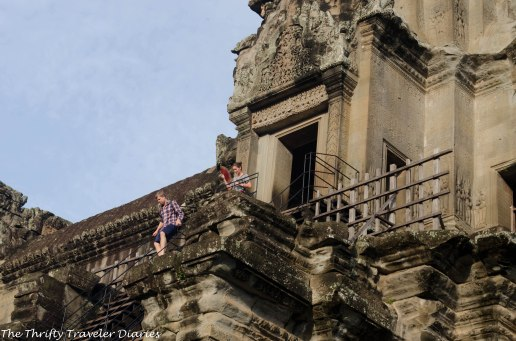 Tourists busy going up and down the temples