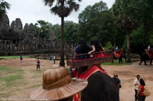 Elephant ride around Angkor Thom