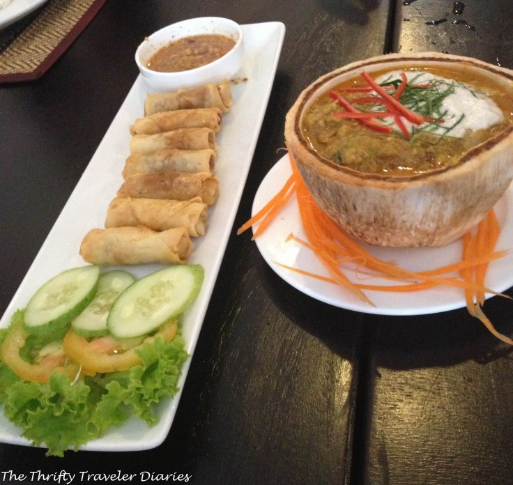Spring rolls, soup