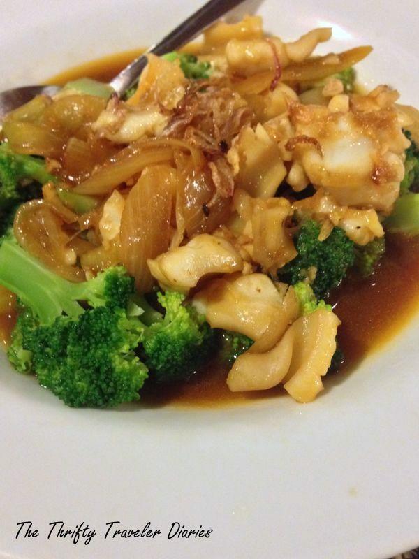Seafood with brocolli