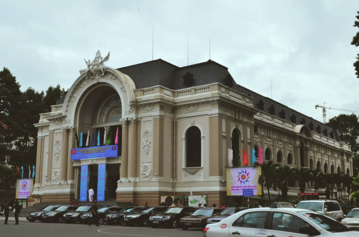 The Saigon Opera House is located in the city's swanky district which also home to popular name brands such as LV and Prada