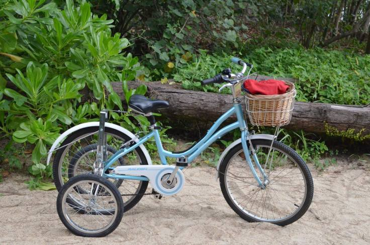 One of the pretty, little bikes you can rent in the island